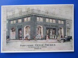 Cpa Publicitaire PARIS - Parfumerie GELLE FRERES , Avenue De L' Opera ,  Animé Belle Voiture - District 01