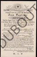 Doodsprentje Jean Baptiste Ectors °1808 Louvain †1885 / Anne Cathérine De Voghel / Marie-W.H. Simons (F230) - Obituary Notices