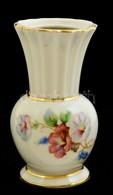 Drasche Virágmintás Porcelán Mini Váza, Matricás, Jelzett, Hibátlan, M: 9 Cm - Céramiques