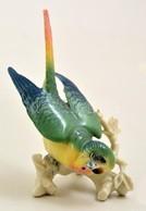 Ens Hullámos Papagáj, Kézzel Festett, Jelzett, Apró Kopásokkal, M: 8 Cm - Céramiques
