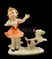 Kislány Kutyával, Figurális Porcelán, Kézzel Festett, Hibátlan, Jelzés Nélkül, 9,5×11 Cm - Céramiques