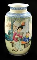 Kínai Porcelán Váza, Kézzel Festett, Jelzett, Kis Kopásokkal, M: 15 Cm - Céramiques