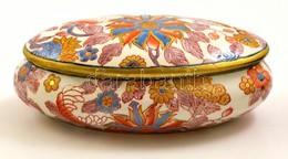 Jelzett Kézzel Festett Kínai Doboz, Kopott Aranyozással, 17,5×9 Cm - Céramiques