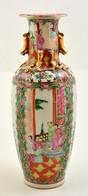 Jelzett Kézzel Festett Kínai Váza, Kopott Aranyozással, M:31 Cm - Céramiques