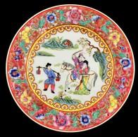 Jelzett Kínai Famille Rose Tányér, Kézzel Festett, Hibátlan, D: 26 Cm - Céramiques