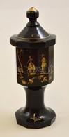 XIX. Sz.: Kézzel Festett Fedeles Fújt üvegpohár 24 Cm - Verre & Cristal