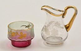 Kisméretű üveg Kiöntő + Pohár, Kézzel Festett, Kis Kopásokkal, M: 4 Ill. 8 Cm - Verre & Cristal