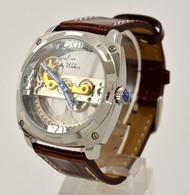 Graf Von Monte Wehro Automata Karóra, Látványos, üveg Tokkal, Bőr Szíjjal. Nem Hordott, Fóliázott állapotban. D: 45mm - Jewels & Clocks