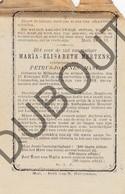 Doodsprentje Maria-Elisabeth Mertens °1851 Millegem /Echtg. Petrus-Joannes Mast †1878 (F235) - Obituary Notices