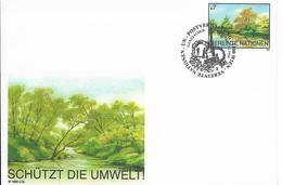 Onu, United Nations, Nations Unies,vienne, Entier Postal 1995, Env Fdc, 7s, Protection Environnement, Arbres, Rivière - Centre International De Vienne