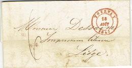 LAC De TOURNAY Du 18/08/1847 > LIEGE + Lettre à Entête De J. CASTERMAN Libraire-éditeur, Imprimeur De L'Evêché à Tournai - 1830-1849 (Belgique Indépendante)