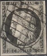 FRANCE Y&T N°3c Cérès 20c Gris-noir. Oblitéré Grille - 1849-1850 Ceres
