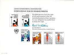 Onu, United Nations,  Entier Postal New York, Genève, Vienne 1981, Année Internationale Des Handicapés - Emissions Communes New York/Genève/Vienne