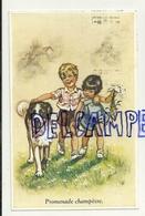 """Deux Enfants Et Un Saint Bernard. """"Promenade Champêtre"""". Signée Germaine Bouret. 1936 - Bouret, Germaine"""