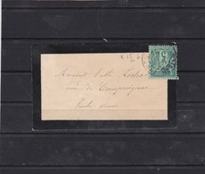 N° 75  TII   SUR CARTE  écrite Au Verso   REF ACDIV - 1876-1898 Sage (Type II)