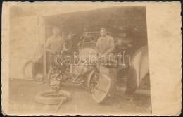 Cca 1910 Autószerelő Műhely Fotója 9x14 Cm - Autres Collections
