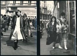 Cca 1980 Budapesti Utcafotók, Hölgyekkel, 4 Db, 18x12 Cm - Other Collections
