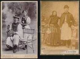 Cca 1900 Népviseletben, 3 Db Műtermi Keményhátú Fotó, 16×10 Cm - Other Collections