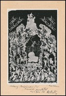 Bognár István (1923-1983) Népművész Körtánc C. Grafikájáról Készült Fotó Dedikálva  Kartonon 15x22 Cm - Other Collections