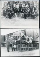 Cca 1928-1936 MÁV életképek, Rakodók és MÁV Zenekar Csoportképe, 2 Db Utólagos Előhívás, - Autres Collections