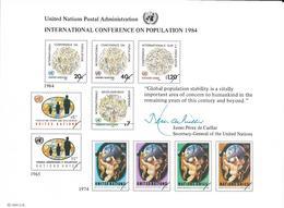 Onu, United Nations,  Entier Postal New York, Genève, Vienne 1984, Conférence Internationale Sur La Population, Démograp - Emissions Communes New York/Genève/Vienne
