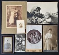 Cca 1880-1929 Vegyes Fotó Tétel, 7 Db, Egy üvegezett Fa Keretben, Közte Egy Mai és Társa Hölgyportréval, Változó állapot - Other Collections