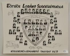 1974 Eötvös Loránd Szakközépiskola Közlekedés Gépgyártó Tagozat, Tanárok és Végzett Diákok Kistablója Nevesített Portrék - Autres Collections