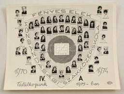 1974 Budapest, Fényes Elek Közgazdasági Szakközépiskola, Tanárok és Végzett Diákok Kistablója Nevesített Portrékkal, 24x - Other Collections