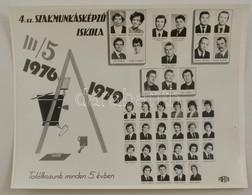 1979 Budapest, 4. Sz. Szakmunkásképző Iskola, Tanárok és Végzett Diákok Kistablója Nevesített Portrékkal, 24x30 Cm - Autres Collections