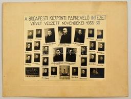 1936 Budapest, Központi Papnevelő Intézet Tanárai és Végzett Növendékei, Kistabló Nevesített Portrékkal, 17,5x21,5 Cm, K - Other Collections