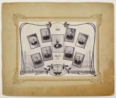 1908 Bruck (Ausztria) Város Vasútállomásának Személyzete, Kistabló, Felületén Kisebb Hibák, 19x26 Cm, Karton 32,5x38,5 C - Autres Collections