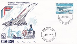 Enveloppe 1er Jour - Concorde - TAAF - Archipel Des Crozet 02.04.1969 - FDC