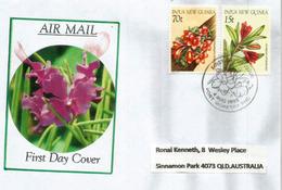 Orchidées De Papouasie, Sur Lettre FDC Adressée En Australie - Papouasie-Nouvelle-Guinée