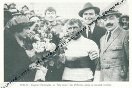 CYCLISME : PHOTO (1920-1921), BORDEAUX-PARIS, EUGENE CHRISTOPHE, DOUBLE VAINQUEUR, COUPURE LIVRE - Cyclisme