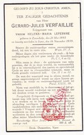 DP Gerard J. Verfaillie ° Zonnebeke 1893 † Ieper 1939 X Helena M. Lefebvre - Images Religieuses
