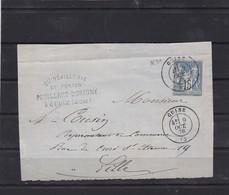 N° 90   SUR Fragment  Départ  GUISE / AISNE   9 OCT. 1878  REF ACDIV - 1876-1898 Sage (Type II)