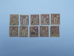 LOT DE 10 TIMBRES OBLITERES 2 C BRUN-ROUGE - 1876-1898 Sage (Type II)