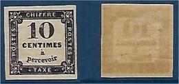 """FR Taxe YT 1 """" 10c. Noir Lithographié """" 1859 Neuf* - Segnatasse"""