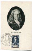 10209  FRANCE  N° 854  Voltaire  OSI Musée Postal La Poste Gallo-Romaine  Paris  Du 4.3.50  TB/TTB - Maximum Cards