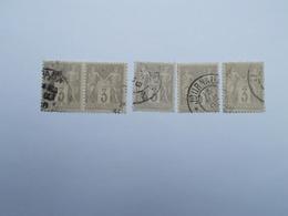 LOT DE 5 TIMBRES OBLITERES 3 C GRIS - 1876-1898 Sage (Type II)