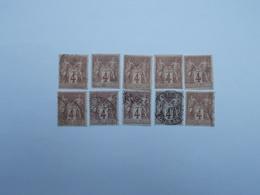 LOT DE 10 TIMBRES OBLITERES 4 C LILAS-BRUN - 1876-1898 Sage (Type II)
