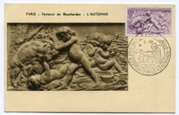 10216  FRANCE  N° 861 L'Automne Par Bouchardon OSI La Poste Gallo-Romaine à Paris    Du 4.3.50  TB - Maximum Cards