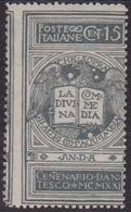 Italia Regno 738 ** 1921 - Dante C. 15 Grigio Non Emesso N. 116A. Cert. Biondi. Cat. € 525,00. MNH - 1900-44 Victor Emmanuel III