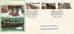 Train De Banlieue Et à Vapeur . FDC Market Street,Melbourne, Adressé En Nouvelle-Zélande - Trains