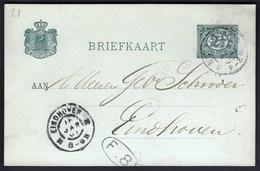 Netherlands Rotterdam 1901 / Postal Stationery 2 1/2 Cent / Sent To Eindhoven - Postal Stationery