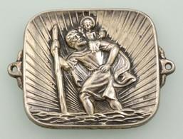 Ezüst(Ag) Szent Kristóf Medál, Jelzett, 3,5×4 Cm, Nettó: 7,7 G - Jewels & Clocks