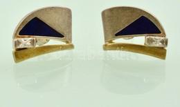 Ezüst(Ag) Fülbevaló Zománc Berakással, Kővel, Jelzett, Bruttó: 1,5×1,2 Cm, Bruttó: 6,4 G - Jewels & Clocks