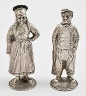 Ezüst(Ag) Fűszertartó, Legény és Leány, 2 Db, Jelzett, M: 9 Cm, Nettó: 111,2 G - Jewels & Clocks