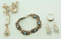 Ezüst(Ag) ékszerszett (gyűrű, Lánc, Fülbevalópár), Hiányos, Jelzés Nélkül, Bruttó: 31,8 G + Bizsu Karkötő - Jewels & Clocks
