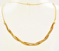 18 Karátos Fonott Arany Nyakék Eredeti Bőr Tokjában. Jelzett. 29,64 G / 18 C Solid Gold Necklace In Original Leather Box - Jewels & Clocks